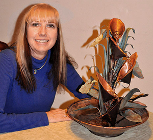 Chrys with her Calla Lily Hand Made Copper Fountain