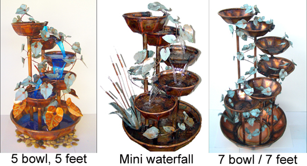 Copper Fountains 7 bowl, 5 bowl, mini waterfall