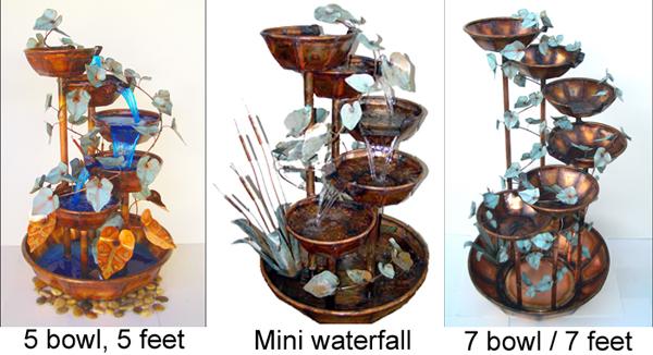 Copper Fountains 7 bowl, 5 bowl, mini waterfall