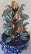 Copper Water Fountain Table Top Calla Lily