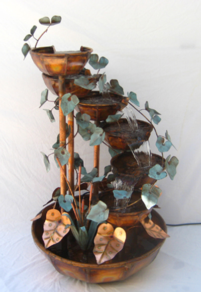 Copper Fountain 5 Bowl 5 Foot Waterfall Hand Made Copper