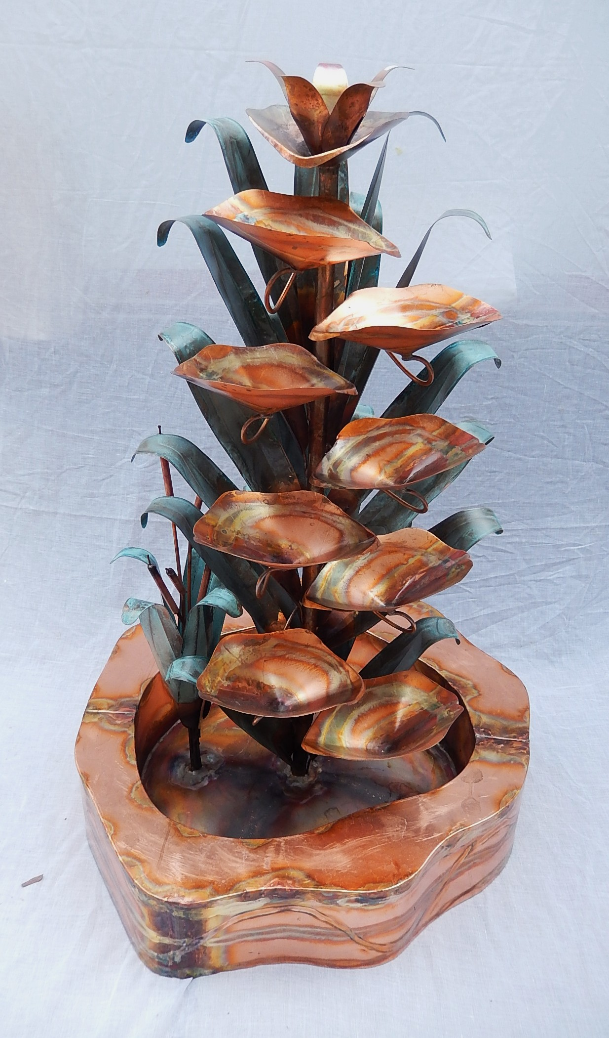 Copper Water Fountain Cat Tail Design With Double Wall