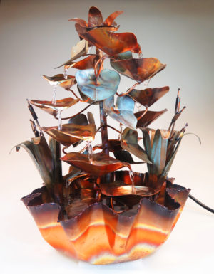 copper water fountain hand made with fluted base
